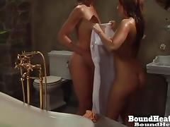 Mistress Spy On Two Slaves Taking A Bath porn tube video