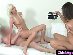 Euro clitpierced babe trio with casting agent