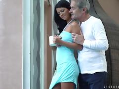 Tanned cutie called Vivien finally has a taste of the hard mature dick porn tube video
