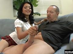 Seductive lass gets her hirsute twat nailed with a massive shaft