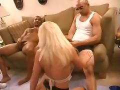 Blonde slutwife in a gangbang with blacks