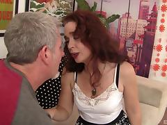 Raunchy redhead cougar Sable gets her juicy twat drilled hard