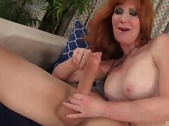 Mature redhead minx Freya enjoys being slammed with a fat cock porn tube video