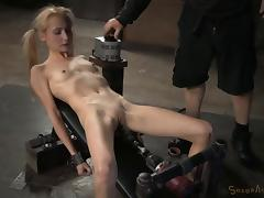 Slim blonde cutie sucks on a rod and gets pleasured with toys