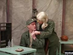 Hottest blonde in the army can't wait to have her snatch drilled hard tube porn video