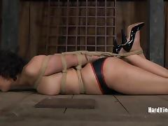 Voluptuous slut Marina simply enjoys being restrained in the dungeon porn tube video