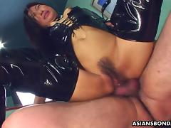 Fucking her wet cunt as she wears her PVC boots tube porn video