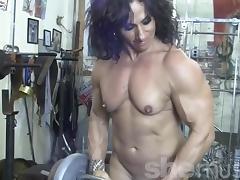 Annie Rivieccio Nude Female Bodybuilder in the Gym tube porn video