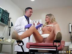 Blonde in high heels moans as doctors ravishes her pussy hardcore