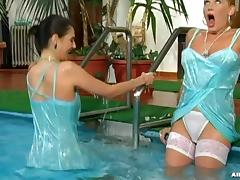 Matching Velvet Eurobabes Take A Dip in the Pool lesbian scene.