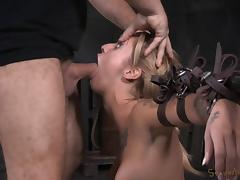 Sexy inked blonde gets tied up and pleasures thick cocks
