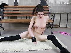 Ariella is one of those hotties who like stretching out totally naked!