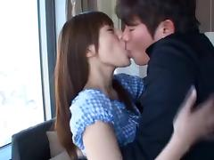 Alluring Asian giving massive dick blowjob passionately