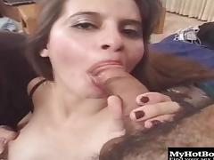 Sexy Stephany sucks one dick while getting humped with the other