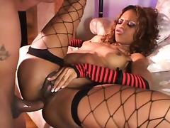 Lustful chocolate babe in fishnets feeds her hungry ass a long stick