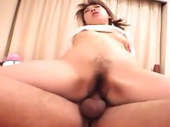 Luscious Japanese lass with a hairy twat and her wild cowgirl ride porn tube video