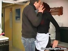 Sexy redhead girl banged by two