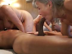 Group of hot grannies enjoy sharing two massive black rods porn tube video