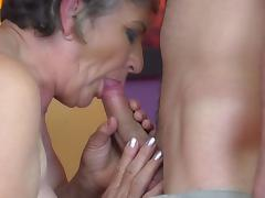 Granny gets young cock in hairy old cunt porn tube video