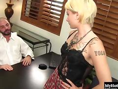 Inked blonde slut gets fucked really hard by a hung bald stallion