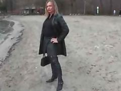 Leather slut with buttplug outside porn tube video