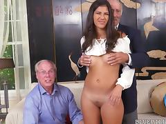 Hot Latina Enjoys Threesome With Grandpas porn tube video