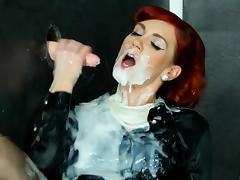Glamour babe covered in thick fake cum by a rubber dick porn tube video