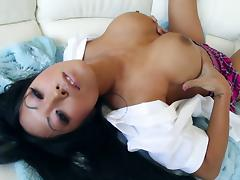 Asian porn star showcasing her juicy pussy then moaning while being throbbed hardcore porn tube video