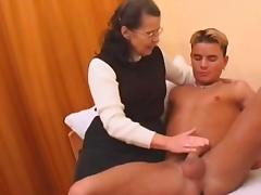 Hairy granny in stockings fucked by boy
