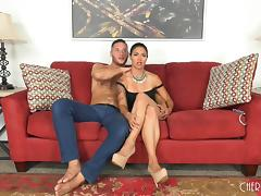 Bombastic Dana Vespoli still likes to get a pussy spooning on the bed porn tube video