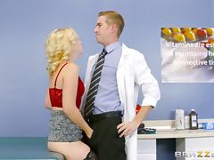 Foxy blonde bitch has her hairy cunt plowed with her doctor's fat cock