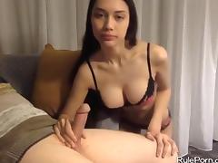Brunette with big tits gives a handjob porn tube video