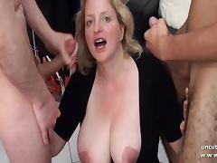 Amateur BBW squirt french mom hard DP and facial porn tube video