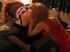 Blonde CD Gets Her Asshole Licked and Pumped