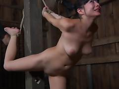 Bondage cowgirl spreading legs when worked on with toy in BDSM porn tube video