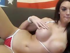 CutieBambi stroking her big boobs porn tube video