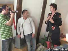 Granma swallows 2 cocks after photosession