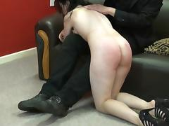 Spanked amateur slaves brutal blowjob and rough whipping of oral submissive Faye Corbin in bruising bare bottom punishment and hardcore sex