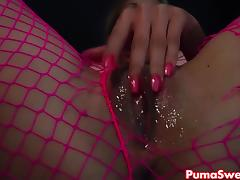 Euro Blonde Puma Swede Rips Fishnets to Cum! porn tube video
