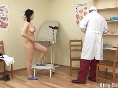 Brunette with natural tits widening legs ready to enjoy doctor hardcore