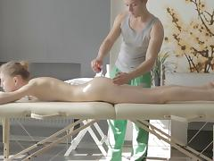 Pale beauty Eva Langford getting bonked right after the massage