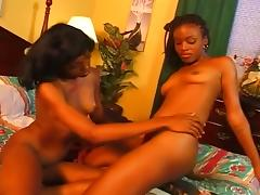 Two Nubian Hotties Ride a Dildo porn tube video