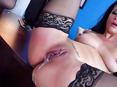 Top milf ends sex experience at work with a big creampie