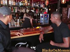 Classy milf interracial banged hard in bar porn tube video