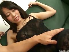 Japanese girl receives the vibrations as well as the rock-solid dick