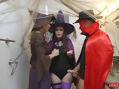 milf cory gets in between her step daughter's sexy halloween party porn tube video
