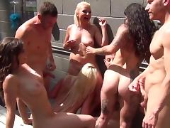 Smoking hot starlets get nailed really hard in a kinky orgy porn tube video