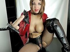 German redhead slut smokes   sucks dildo