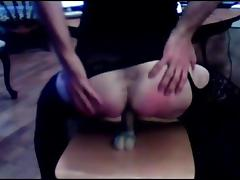 Crossdresser blowjob and ridding her dildo tube porn video