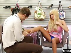 Sexy golden-haired lass doing some cock riding at the shoes store